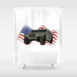 Patrotic HUMVEE Army Military Truck Shower Curtain