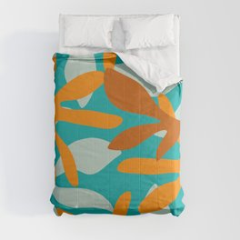 Seychelles Garden Botanical Abstract in Rust, Orange, Aqua, and Turquoise Comforters
