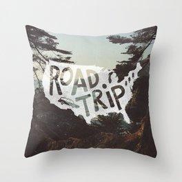 Road Trip USA - big sur Throw Pillow