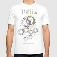Team Tesla Mens Fitted Tee White LARGE