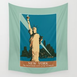 New York The Wonder City of the World Wall Tapestry