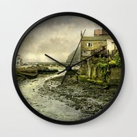 cassia beck Wall Clocks featuring The Beck at Staithes by tarrby/Brian Tarr