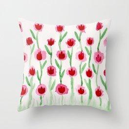 Red tulip Throw Pillow