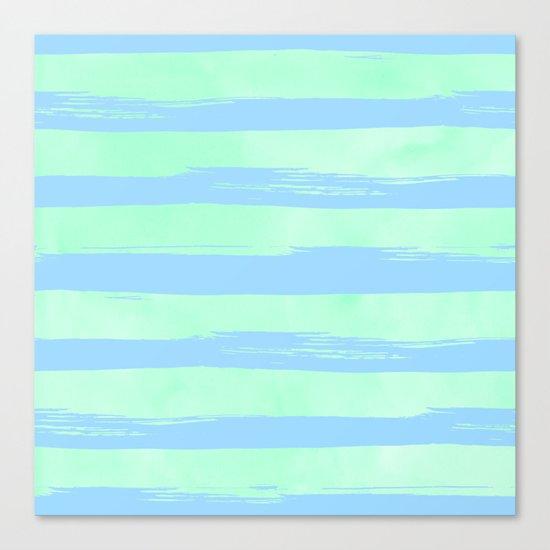 Trendy Stripes Blue Raspberry + Mint Meringue Canvas Print