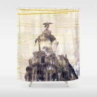 metropolis Shower Curtains featuring Metropolis building, Madrid by Deprofundis