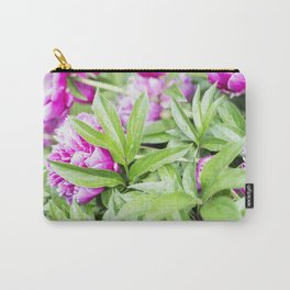 Hot Pink Peony and Leaves with Raindrops Carry-All Pouch
