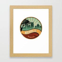 Nashville City Skyline Tennessee Retro Vintage Design Framed Art Print