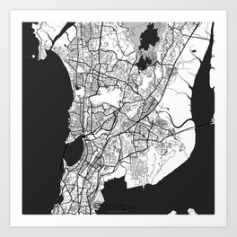 Mumbai Map Gray Art Print