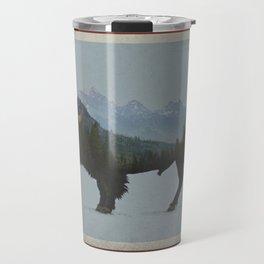Wyoming Bison Flag Travel Mug