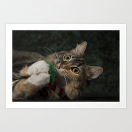 Arbor plays with her scarf! Art Print