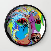 rottweiler Wall Clocks featuring Rottweiler by EloiseArt