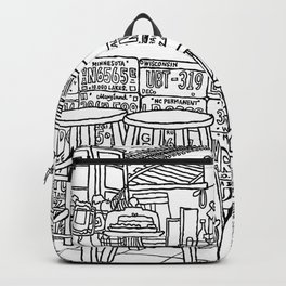 Arizona Flagstuff Diner - Line Art Backpack