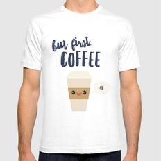 But First, Coffee MEDIUM White Mens Fitted Tee