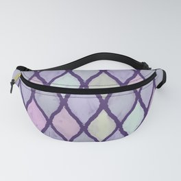 Preppy Wet Pastel Pattern in Dark Purple, Turquoise, Yellow, and Pink Fanny Pack