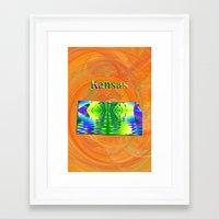 kansas Framed Art Prints featuring Kansas Map by Roger Wedegis