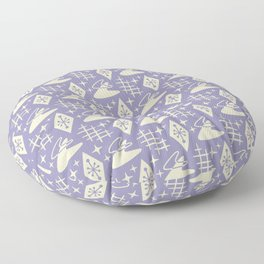 Mid Century Modern Boomerang Abstract Pattern Lavender and Tan 261 Floor Pillow