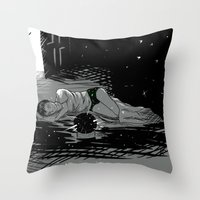 astronomy Throw Pillows featuring Astronomy Jim by Allie Morris