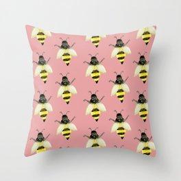 Honeybees on Millennial Pink Throw Pillow