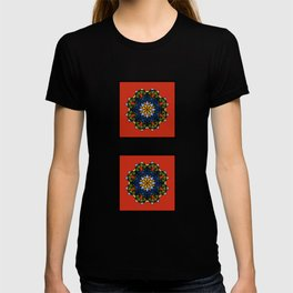 The Flower of Tradition - Colorful geometric flower with red as dominant, inside square frame.  T-shirt