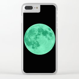 MOON GLOW GREEN Clear iPhone Case