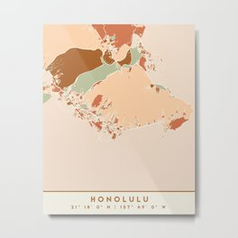 HONOLULU HAWAII CITY MAP EARTH TONES Metal Print