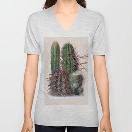 Vintage Cactus Print Unisex V-Neck