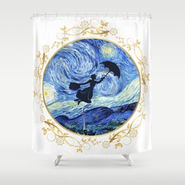 Mary Poppins Starry Night - Golden Floral Frame Shower Curtain