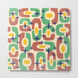 Mid Century Modern Cosmic Abstract 125 Brown Green Yellow and Blue Metal Print