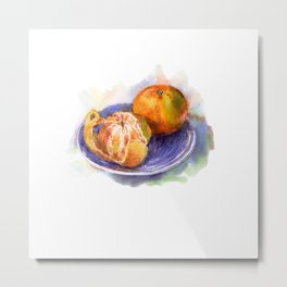 Mandarine whole and peeled on a blue plate. Watercolor hand-drawn. Metal Print