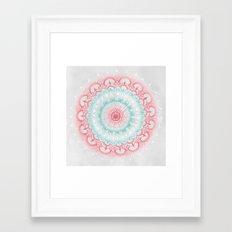 Teal & Coral Glow Medallion Framed Art Print