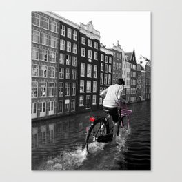 Boy Ridiing his Bike down Amsterdam Canals Canvas Print