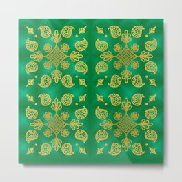 Gold design on green background Metal Print