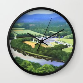 Fine Art Print of a View of the Oxbow in Northampton, Massachusetts from Mount Tom in East Wall Clock