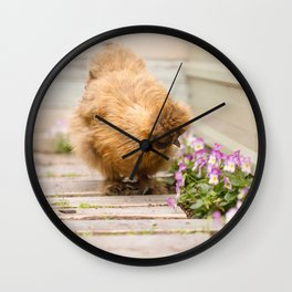 Taking the time to smell the flowers Wall Clock