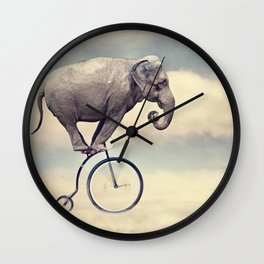 elephant brother riding bike Wall Clock