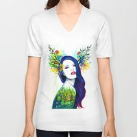 spring V-neck T-shirts featuring -Spring- by PeeGeeArts