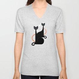 Fashionable Felines Atomic Age Black Kitschy Cats Unisex V-Neck