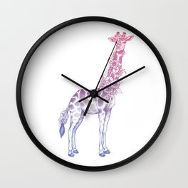 Floral giraffe Wall Clock