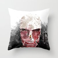 shingeki no kyojin Throw Pillows featuring The Hunter and The Pig by icantusechanwei