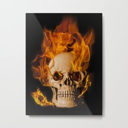 Another Burning Skull Metal Print