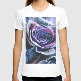 Macro photography of purple - neon roses with raindrops. Fantasy and magic concept. Selective focus. T-shirt