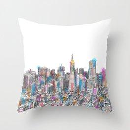 San Francisco Coit view Throw Pillow