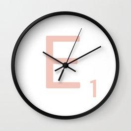 Pink Scrabble Letter E - Scrabble Tile Art Wall Clock