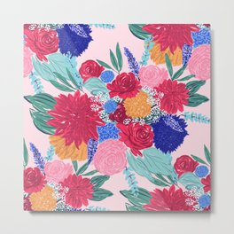 Cute Colorful Flowers Bouquet Hand Paint Metal Print