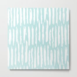 Vertical Dash Stripes White on Succulent Blue Metal Print
