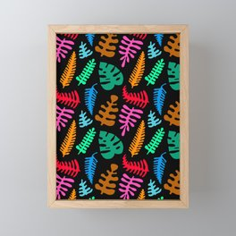 Mod Minimalist Leaves in Black + Tropical Multi Framed Mini Art Print