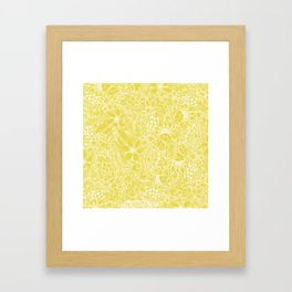 Modern trendy white floral lace hand drawn pattern on meadowlark yellow Framed Art Print