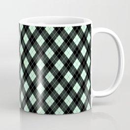 Summermint Green and Black Argyle Plaid Pattern Coffee Mug