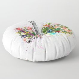 Flowers Lungs Skeleton Watercolor Floor Pillow