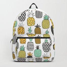Pineapple Geometric on White Backpack